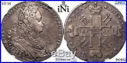 INi RUSSIA, ROUBLE, 1728, Peter II, Moscow, toned, Rare, NGC VF 35