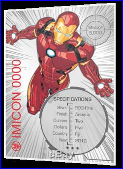 IRON MAN MASK MARVEL ICON SERIES 2019 2 OZ Antiqued Pure Silver Coin Fiji
