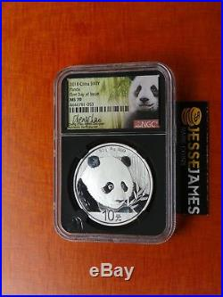 In Stock 2018 China Silver Panda Ngc Ms70 First Day Issue Cheng Chao Signed Fdi
