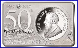 KRUGERRAND 50TH ANNIVERSARY 2017 SOUTH AFRICA 3 OZ 999 SILVER COIN BAR 1 oz 2 oz