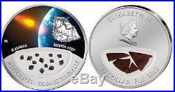 Kainsaz METEORITE silver coin! $10 Fiji, only 999 made! Cosmic Fireballs, RUSSIA