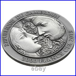Kama Sutra Moments of Love 3 oz Antique finish Silver Coin CFA Cameroon 2019