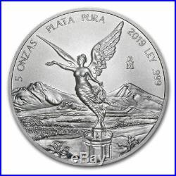 LIBERTAD MEXICO 2019 5 oz Silver Brilliant Uncirculated Coin BU in CAPSULE