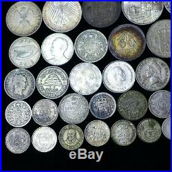 LOT of (50) Different Foreign World Silver Coins Nice Mix Lot-E