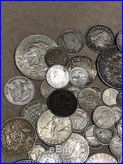 Large Lot Of Rare Foreign Silver Coins All Silver, Many Countries Dont Miss