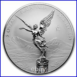 Libertad Mexico 2018 5 Oz Reverse Proof Silver Coin In Capsule