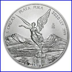Libertad Mexico 2020 5 Oz Brilliant Uncirculated Silver Coin