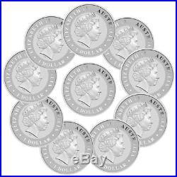 Lot of 10 2018-P Australia 1 oz Silver Kangaroo $1 Coins GEM BU SKU49772
