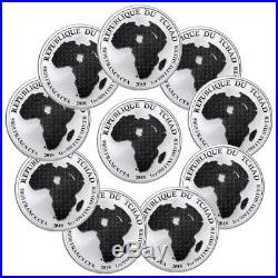Lot of 10 2018 Republic of Chad African Lion 1 oz Silver GEM BU SKU51643