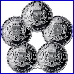 Lot of 10 2018 Somalia 1 oz Silver Elephant Sh100 Coins GEM BU SKU49892
