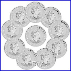 Lot of 10 2019-P Australia Silver Kangaroo $1 Coins SKU55523