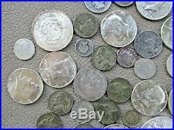 Lot of 34 Silver US and World Coins-10 Ounces-Mostly Circulated