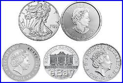 Lot of 5 2016 1oz Silver Coins from Around the World