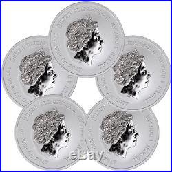 Lot of 5 2017 Tuvalu Marvel Series Spider-Man 1 oz. Silver $1 Mint Cap SKU48150