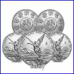 Lot of 5 2018 1 oz Mexican Silver Libertad Coin. 999 Fine BU
