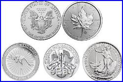 Lot of 5 2018 1oz Silver Coins from Around the World