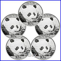 Lot of 5 2018 China 30 g Silver Panda ¥10 Coins GEM BU Caps SKU50509
