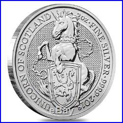 Lot of 5 2018 Great Britain 2 oz Silver Queen's Beasts Unicorn Coin BU