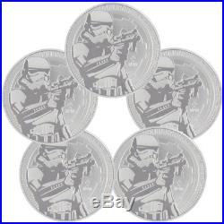 Lot of 5 2018 Niue Star Wars Classic Stormtrooper 1oz Silver BU Coins SKU50187