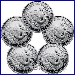 Lot of 5 2018 Somalia 1 oz Silver Elephant Sh100 Coins GEM BU SKU49891