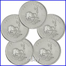 Lot of 5 2020 South Africa 1 oz Silver Krugerrand R1 Coins GEM BU SKU60398