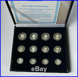 MEXICO SET 12 Silver Coins 100 50 25 Pesos $ 1985 1986 WORLD CUP SOCCER PROOF