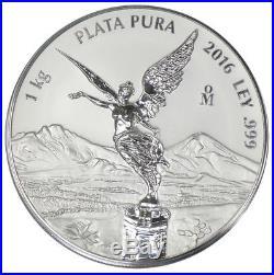 Mexico $100 Dollars Libertad, 1 kg Silver Coin, 2016, Mint, Plata Pura