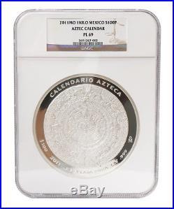 Mexico $100 Pesos, 1 kg Silver ProofLike Coin, 2011, Mint, Aztec Calendar NGC PL-69