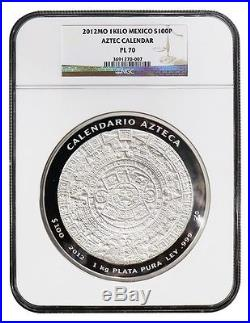Mexico $100 Pesos, 1Kilo Silver ProofLike Coin, 2012, Mint, Aztec Calendar NGC PL-70