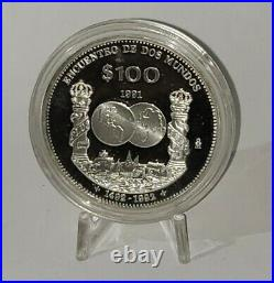 Mexico 100 pesos Encounter of two Worlds Columnaria proof silver coin 1992 NICE
