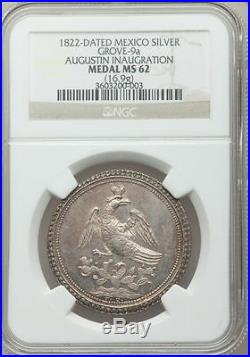 Mexico 1822 Iturbide Proclamation Medal Grove-9a NGC MS62
