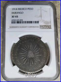 Mexico 1914 XF-45 Peso MUERA HUERTA Cuencame Durango KM-621 Scarce Silver Coin