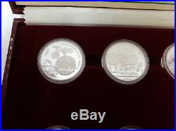 Mexico 1985 1986 World Cup Soccer Silver Proof 12 Coin Set 25 50 100 Pesos (9QU)