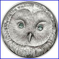 Mongolia 2011 URAL OWL Wildlife Protection Silver Coin Swarovski 500 Togrog 1oz