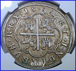 NGC 1586 Segovia Spanish Silver 8 Reales AU Detail Genuine 1500's Philip II Coin
