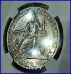 NGC MS 62 Hannover 1872 Shooting 1 Thaler Unc Silver Germany Hanover