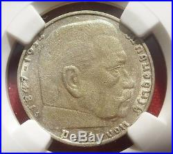 NGC NAZI SWASTIKA 1936-J 2 ReichsMark SILVER COIN AU-53 Germany 3rd-REICH MINT
