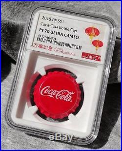 NGC PF70 2018 Fiji Coca-Cola Bottle Cap $1 6g Silver Proof Coin Coca Cola