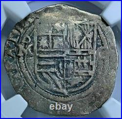 NGC VF30 1500's Spanish Mexico Silver 1 Reales Antique Philip II Pirate Cob Coin