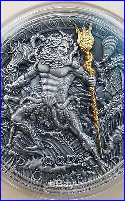 NIUE 2018 2 Oz Silver POSEIDON, GREEK GOD OF OCEANS Coin