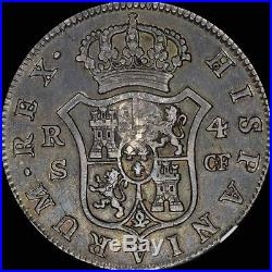 Ngc 1776 4 Reales Spain S-cf Ngc Xf40 Great Britain Counter Stamp 1797 4r Toned