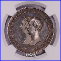 Ngc- Ms61pl 1841cnb Ht Russia Rouble Silver Royal Marriage Prooflike