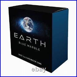 Niue 2022 Earth BLUE MARBLE Apollo 17 Moon Module $1 Oz Silver PrfMINTAGE 750