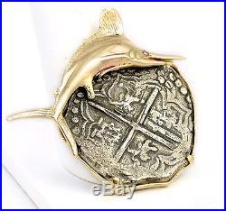Nuestra Senora de Atocha 8 Reales Silver Coin 14k Gold Diamond Marlin Pendant