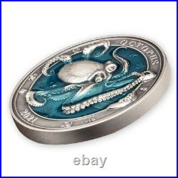 Octopus Underwater World 3 oz Antigue finish Silver Coin 5$ Barbados 2021