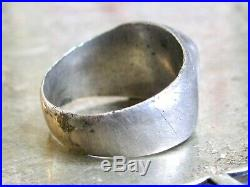 Old Antique Ancient Pirate Old World Coin To Sterling Silver Mans Signet Ring