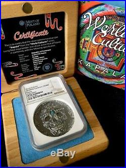 PF 70 Antiqued 2018 Cameroon 2000 Francs World Cultures KAPALA 2 Oz Silver Coin