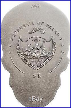 Palau 2016 5$ Skull Silver Series 1 Oz Silver Antique Finish Coin