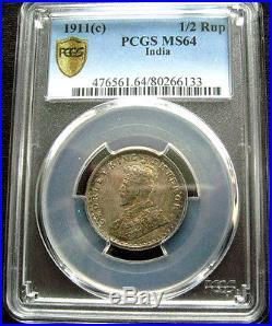 Pcgs-ms64/63 1911 India 1/2r+1/4r+2anna Silver Toned Bu Top Rare