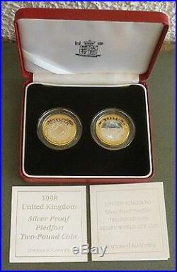 Piedfort £2 Silver Proof 2-Coin Set 1999 Hologram Rugby World Cup + 1998 SOTSOG